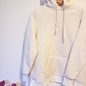 Old Navy White Teddy Sherpa Hoodie Size Small